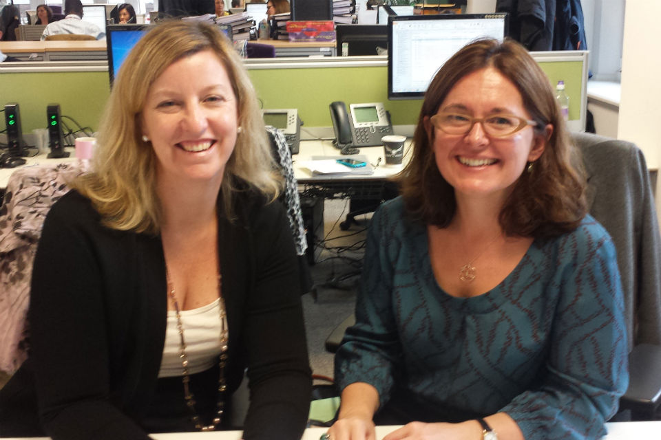 Tessa Griffiths and Sarah Maclean in the DfE offices