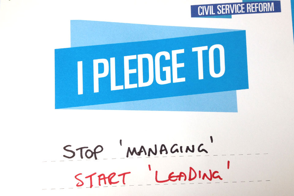 civil service live pledge card reading: Stop 'managing' Start 'Leading'