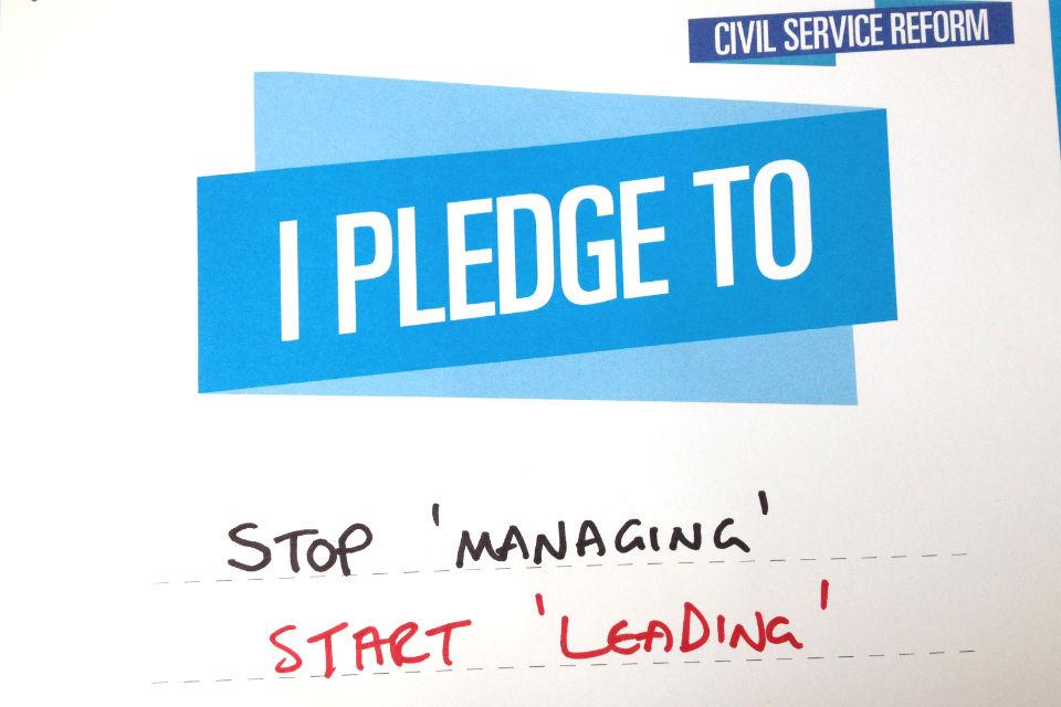 civil service live pledge card reading: Stop 'managing' Start 'Leading'