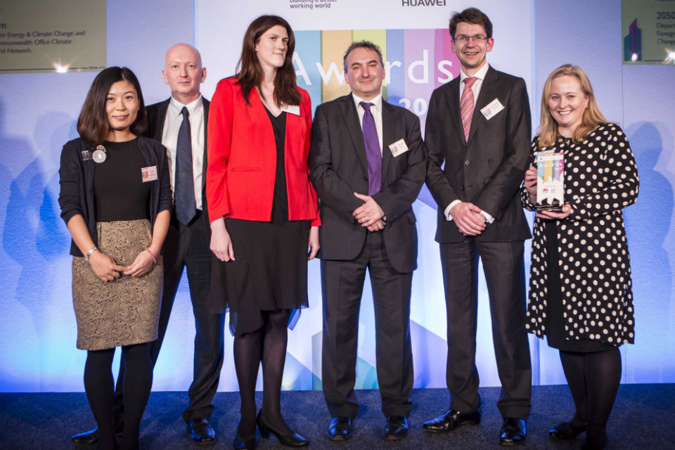 The 2015 Environment Calculator team receive their Civil Service Award