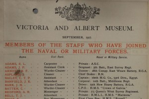 Staff list from the V & A museum in 1917