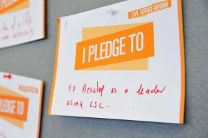 "civil service pledge card reading: ""to develop as a leader using CSL"""