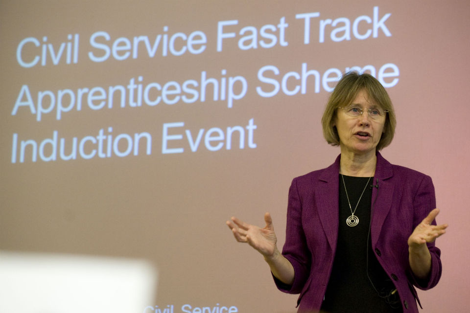 Lin Homer, Permanent Secretary HMRC, talking at Civil Service Fast Track Apprenticeship Induction event