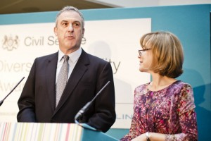 Sir Simon Fraser and Sian Williams presenting at the Diversity and Equality Awards.