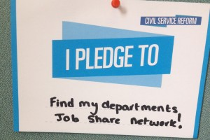 pledge card with 'Find my department's job share network' written on it