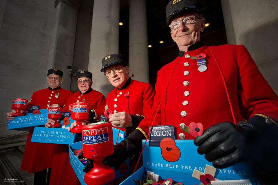 Chelsea pensioners selling poppies outside the Ministry of Defence