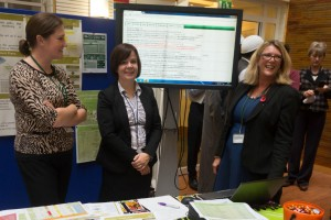 Photo of Lorraine Horwood, Vicky Clarke and Dawn Woodward stall showed how DEFRA is reducing regulatory burdens on farmers.