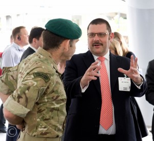 Jon Thompson talking to a Royal Marine Commando at Civil Service Live 2013