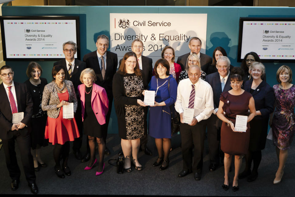 A picture of the 2014 Civil Service Diversity & Equality Award winners and their presenters.