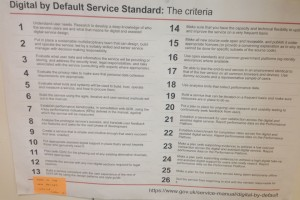 Poster showing the 26 criteria of the digital by default standards