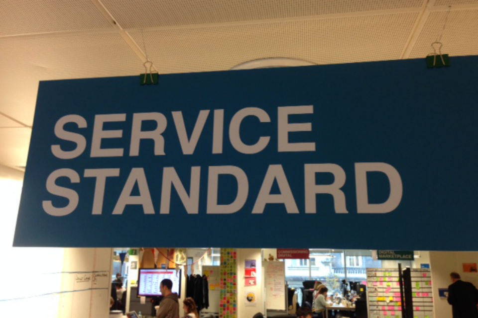 Office sign saying 'Service Standard'