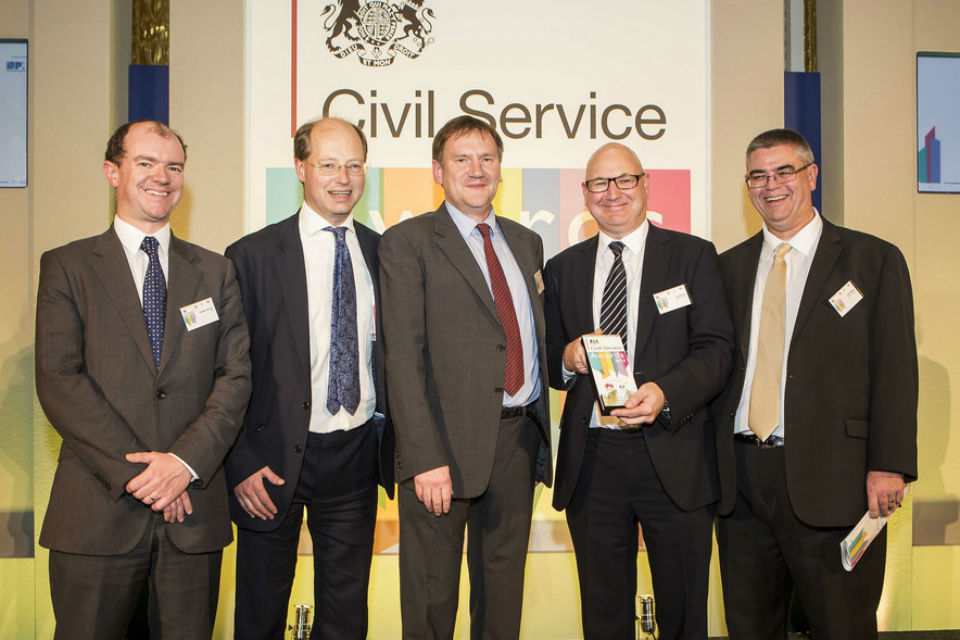 The Estates Directorate Programme Unit receiving the Project and Programme Management Award at the Civil Service Awards 2014