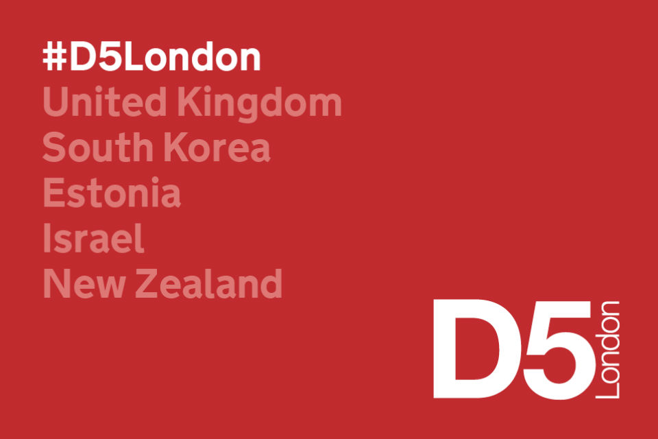 D5 logo with the 5 countries (UK, South Korea, Estonia, Israel and NZ) listed