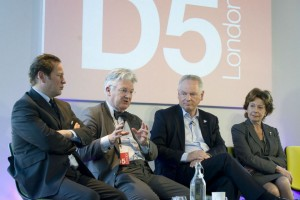 (l-r) Ed Vaizey MP, Hon Peter Dunne MP (New Zealand), Rt Hon Francis Maude MP, Neelie Kroes, former VP of the European Commission