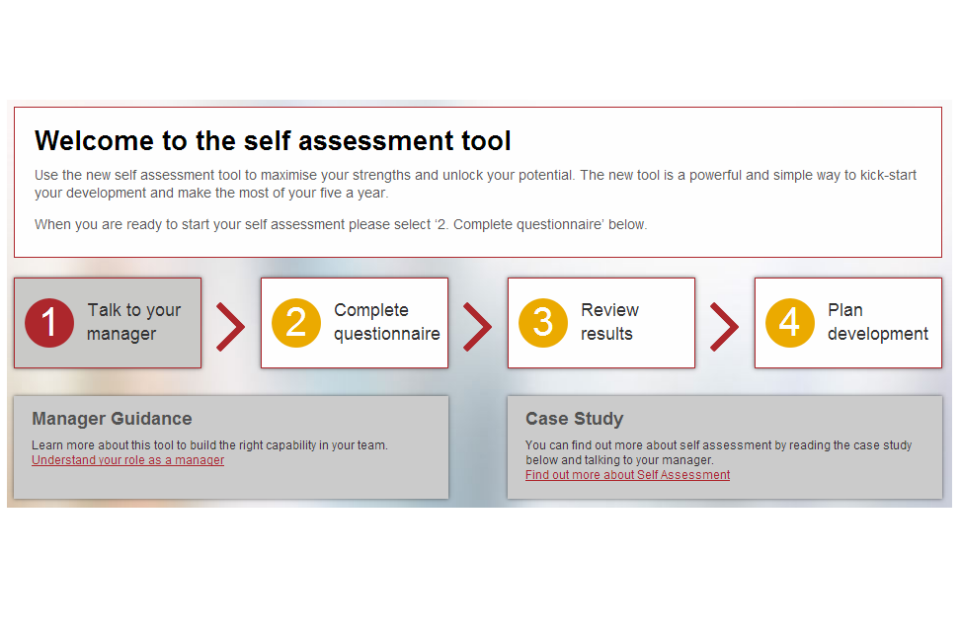 Screengrab of the self assessment tool