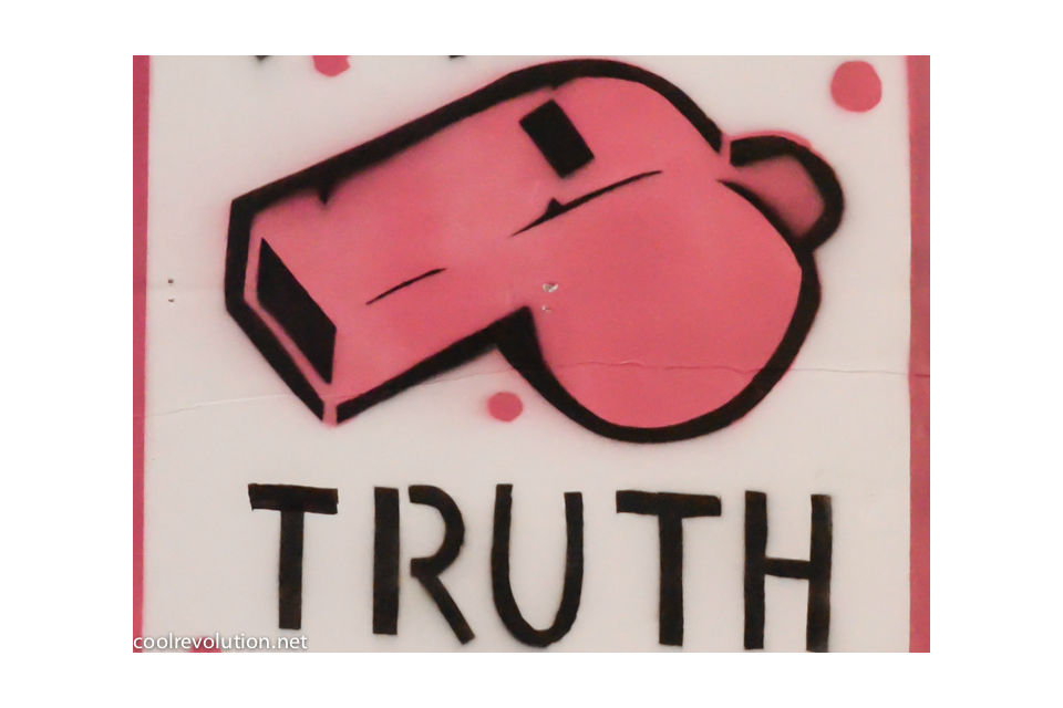 Graffiti of a pink whistle with the words 'truth' underneath