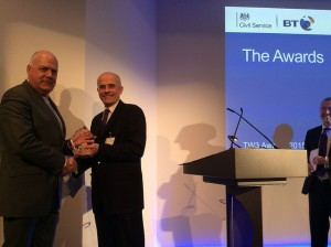 Simon Morys presenting the Workplace Award to Department of Health