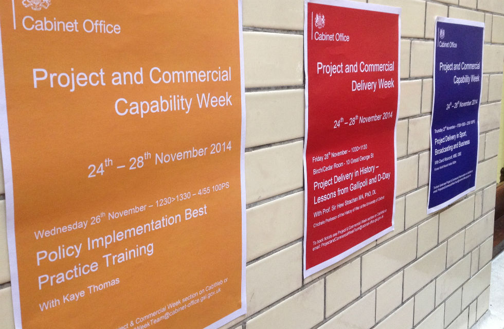 Posters in Cabinet Office advertising Project Delivery week