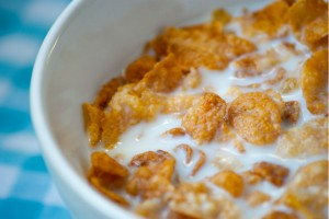 Close-up of a bowl of cornflakes
