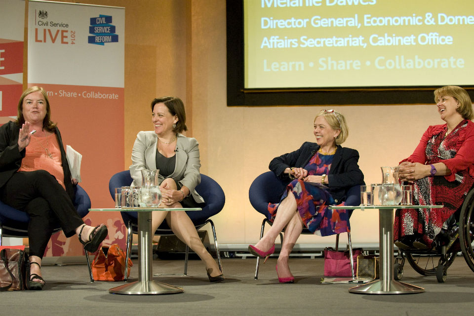 Louise Casey, Melanie Dawes, Sue Owen and Baroness Tanni Grey-Thompson at Civil Service Live 2014
