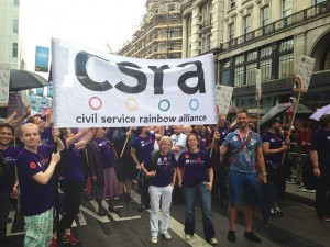 Sue and Cabinet Office Permanent Secretary Richard Heaton at Pride 2014 with CSRA