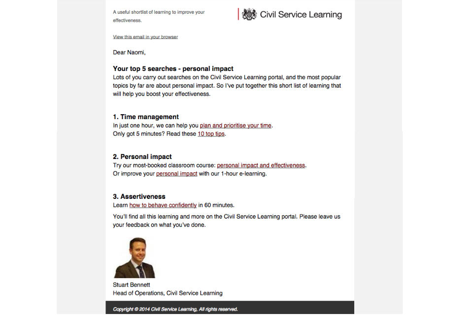 A screenshot of the new Civil Service email