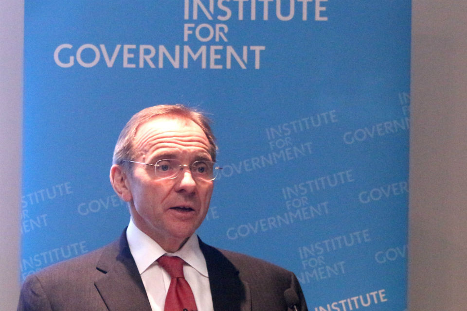 John Manzoni speaking at the Institute for Government
