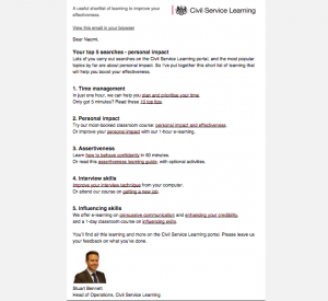 screenshot of the new civil service learning email