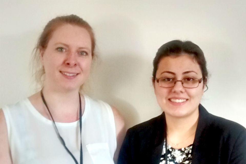 Goknur (right) with Hannah Wilson on the Communications and Engagement Team in Civil Service HR.