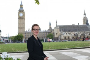 Sally outside of Parliament