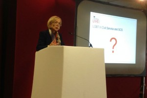 Sue speaking about LGBT issues at Civil Service Live 2014: Newcastle
