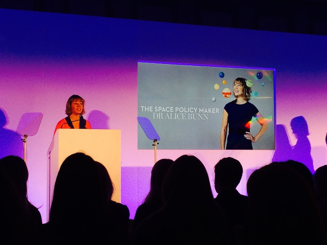 Dr Alice speaking at the Marie Claire Women at the Top Awards
