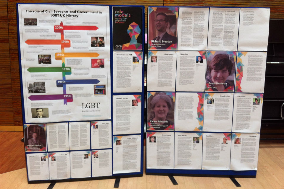 A display on the role of civil servants in LGBT history