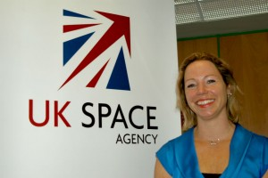 Photo of Dr Alice by the UK Space Agency logo