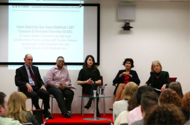Photo of the panel talking at the MoJ's LGB&T event