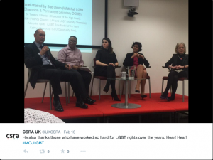 The panel at the MoJ event from a tweet by CSRA