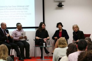 Sue Owen (far right) chairs a discussion at the Ministry of Justice event marking LGBT History Month