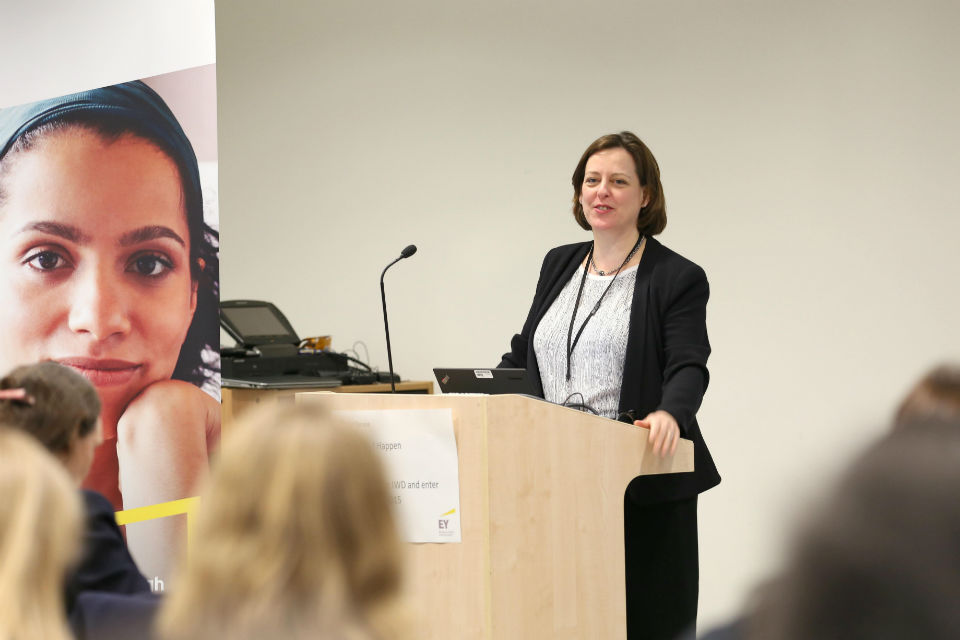 Melanie Dawes addressing delegates at the 2015 International Women's Day event