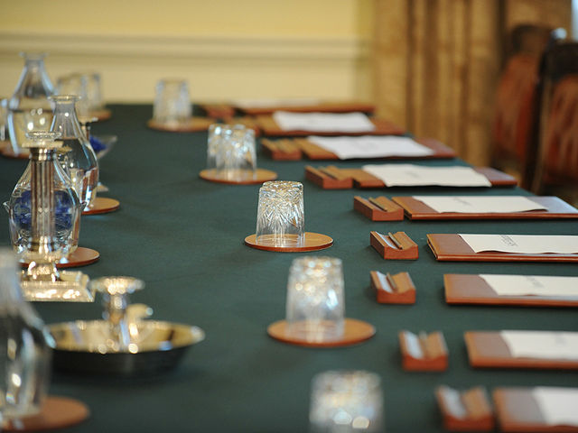 Cabinet Office table ready for ministers