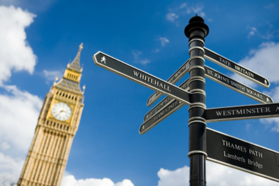 Whitehall tourist sign with Big Ben in the background