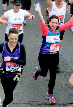 Amy (right) en route in the London Marathon.