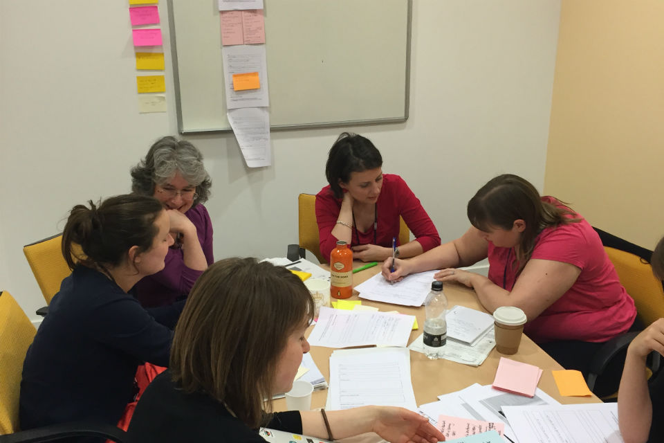 The Civil Service Learning team working on developing user needs for the site