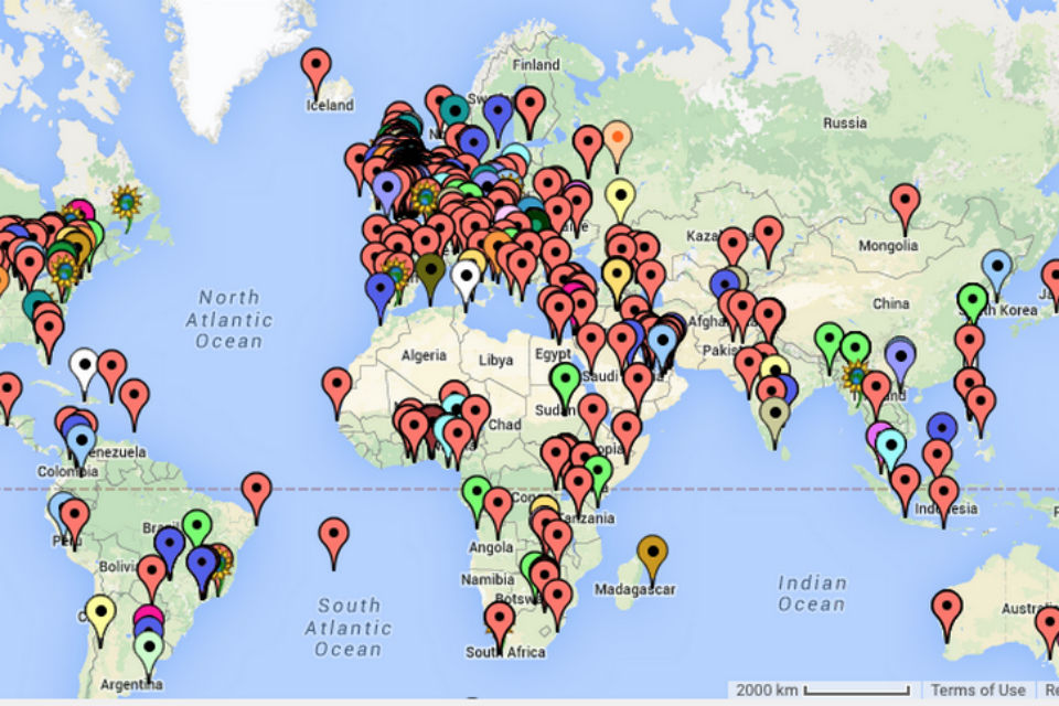 Map showing the locations of learners on the Contract Management MOOC.