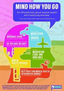 Infographic highlighting FCO's guidance for those travelling abroad with mental health needs.