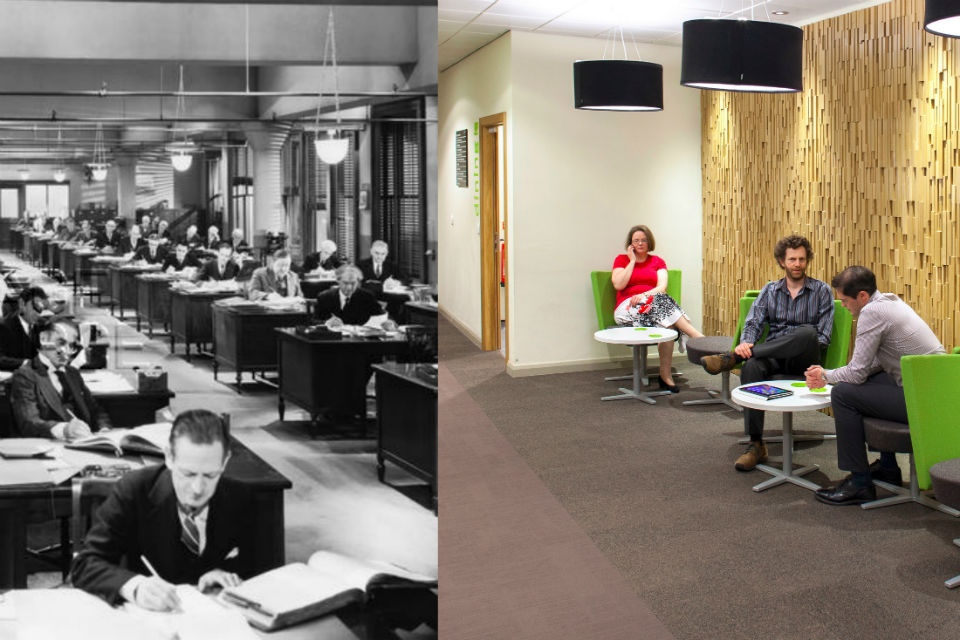 Composite images of an office from the 40s on the left and a modern Civil Service breakout area.
