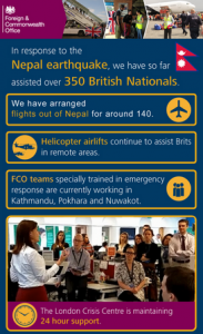 Infographic outlining the work FCO has done following the Nepal crisis