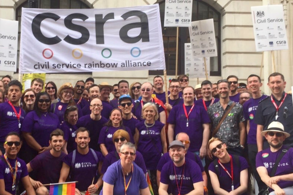 Members of the Civil Service Rainbow Alliance at Pride in London