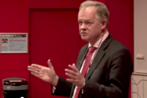 Aidan Halligan in lecture theatre