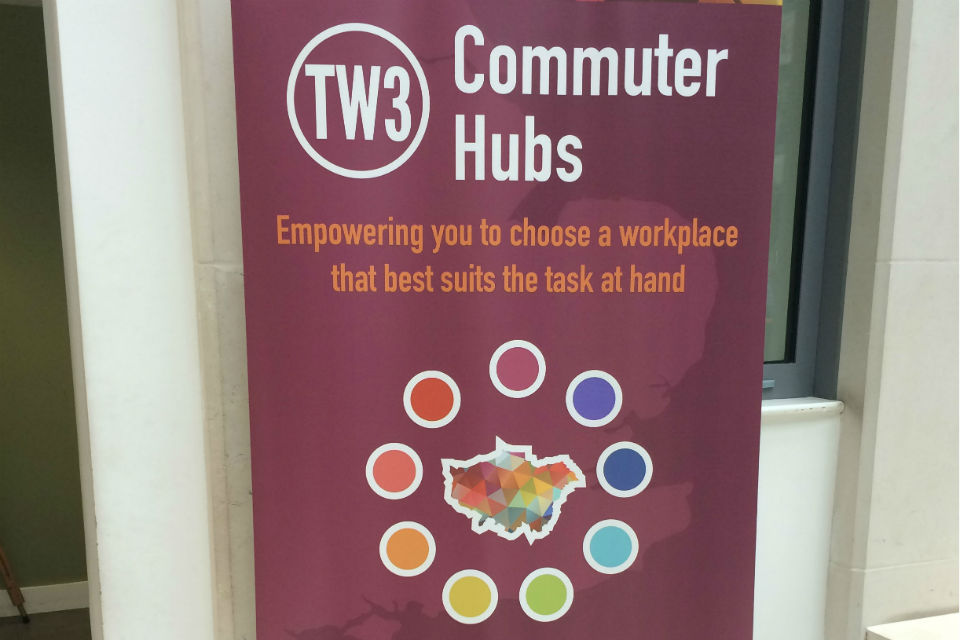 Banner promoting MoJ commuter hubs
