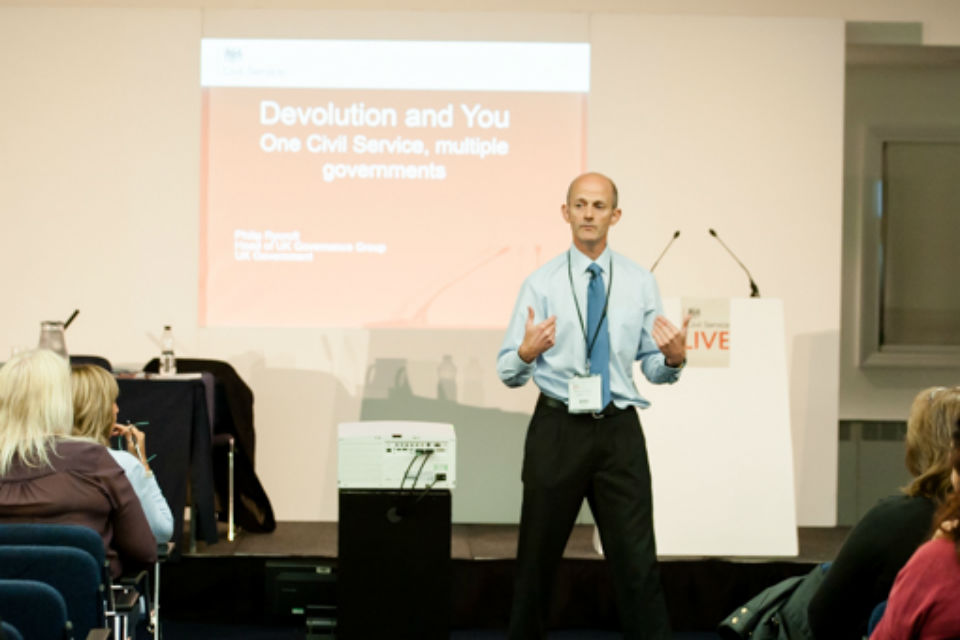 Philip Rycroft presenting the Devolution and You at Civil Service Live 2015: Manchester